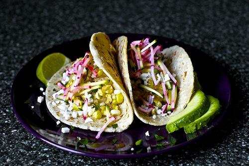 charred corn tacos with zucchini radish slaw