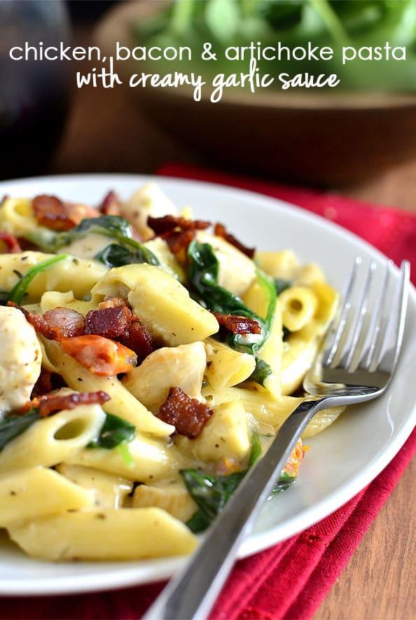 chicken bacon and artichoke pasta with creamy garlic sauce