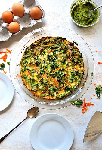 kale carrot pesto crustless quiche