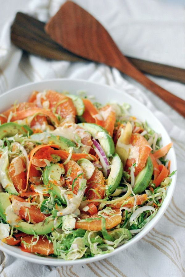 shaved brussels sprout and carrot salad with cara cara and avocado