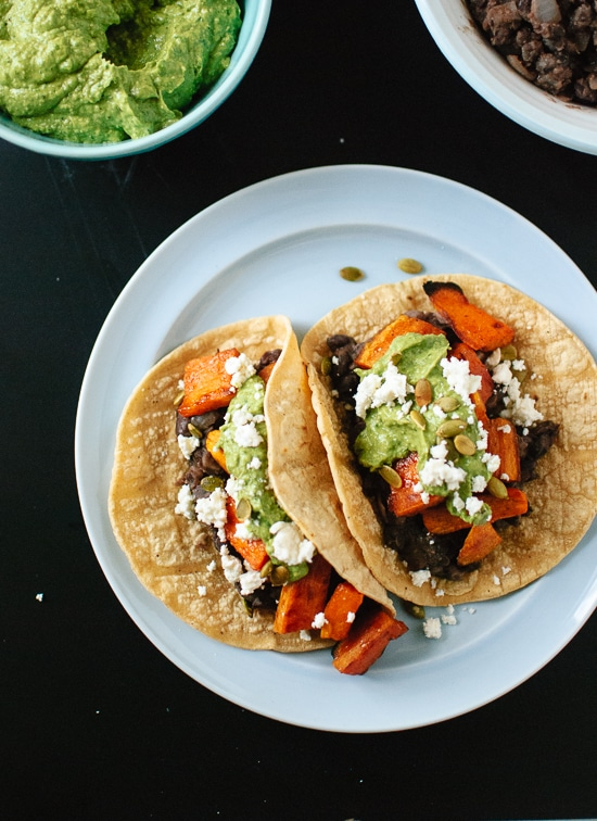 sweet potato and black bean tacos with avocado pepito dip