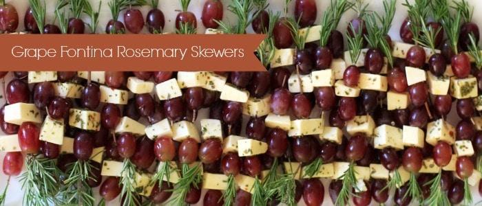 Grape Fontina Rosemary Skewers on platter
