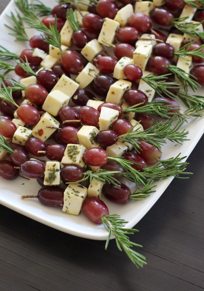 Grape Fontina Rosemary Skewers
