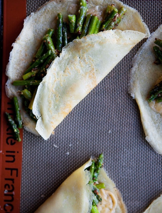 crepes with asparagus and gruyere