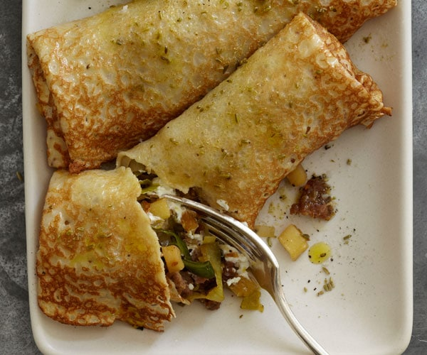 Leek, Apple, Fennel Sausage and Goat Cheese Crepes from Fine Cooking
