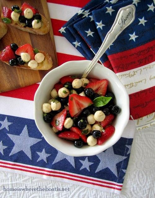 berry caprese bruschetta- fourth of july recipes