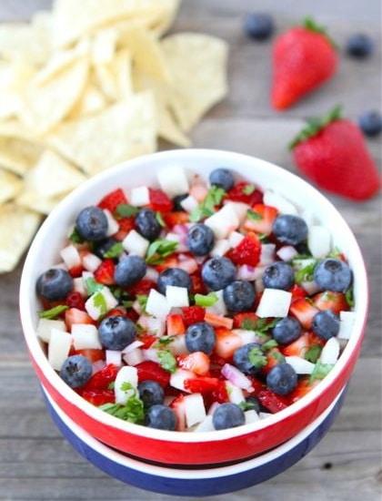 blueberry strawberry jicama salsa- fourth of july recipes