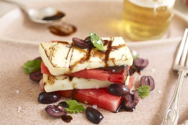 grilled halloumi and watermelon