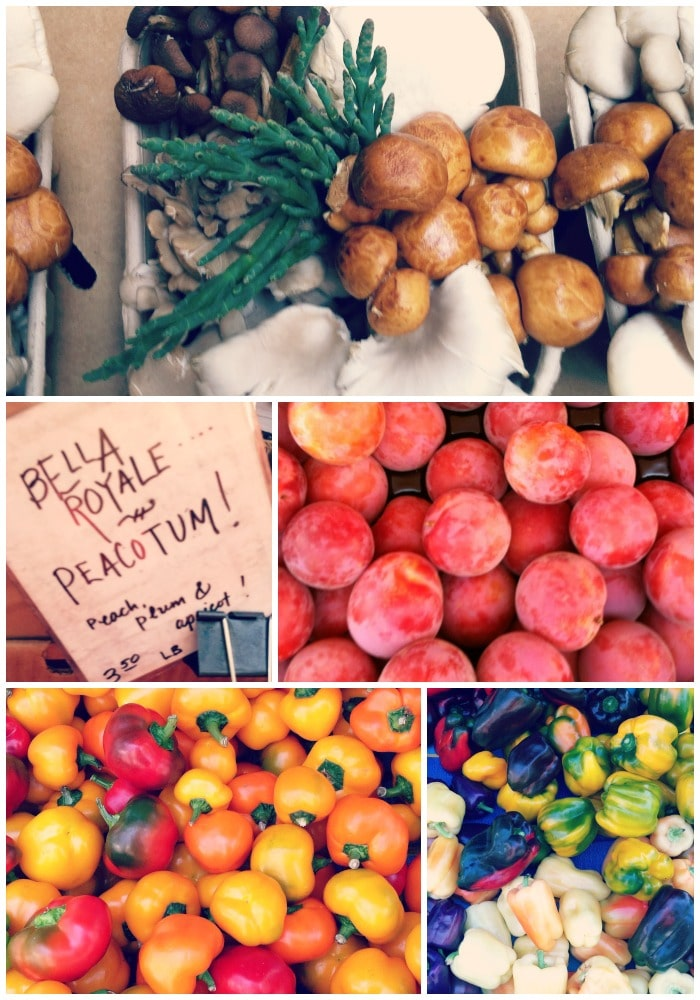Mushrooms, Peacotums and Colorful Bell Peppers at the Ferry Building in SF