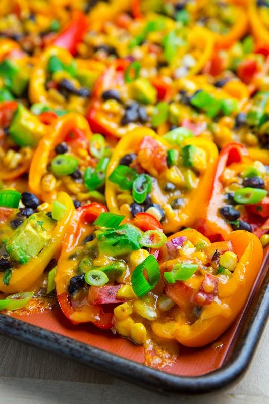 mini pepper nachos with corn an black beans