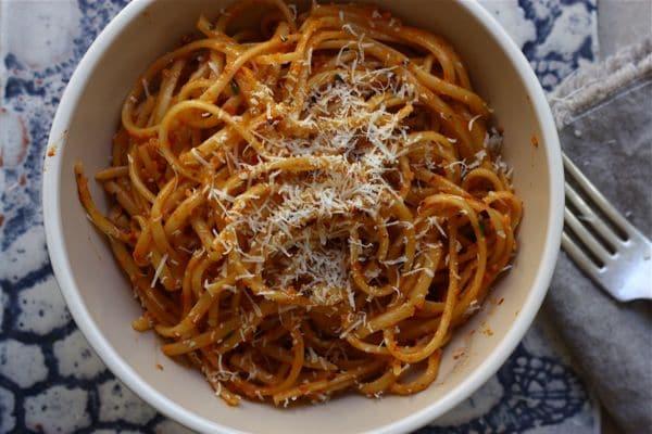 roasted red pepper pesto pasta
