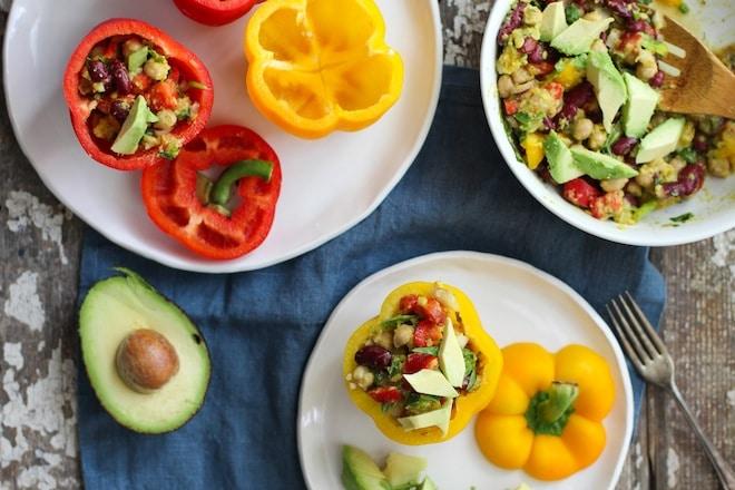 tri legume salad stuffed peppers