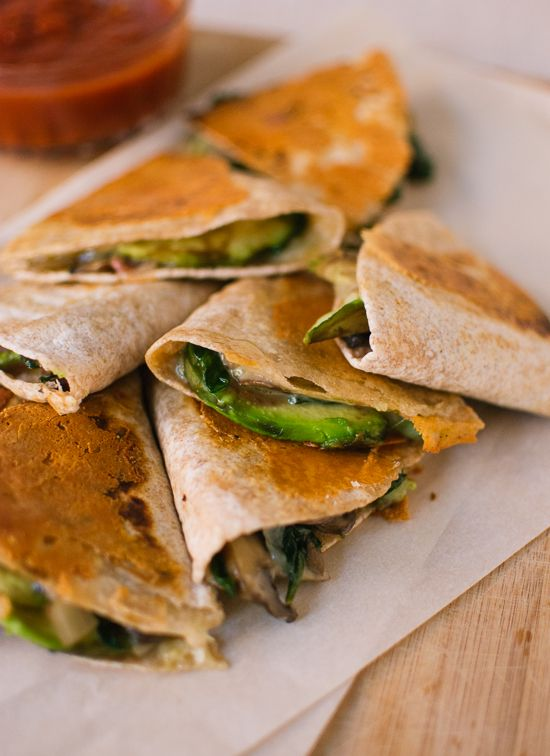 Crispy Mushroom, Spinach and Avocado Quesadillas | Easy Vegetarian Quesadilla Ideas