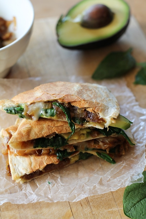 caramelized onion, spinach and avocado quesadillas | Easy Vegetarian Quesadilla Ideas