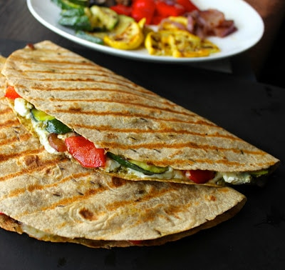 grilled vegetable with goat cheese and pesto quesadilla | Easy Vegetarian Quesadilla Ideas