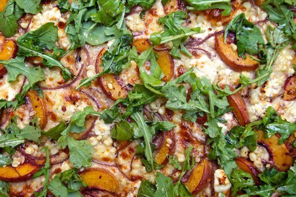 Simple Summer Recipes : peach arugula corn pizza
