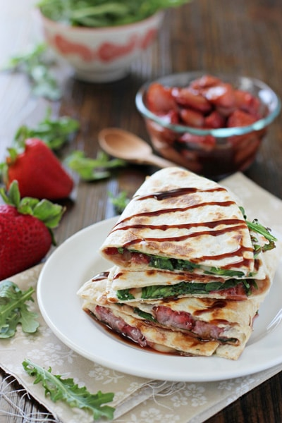 roasted strawberry brie and arugula quesadillas | Easy Vegetarian Quesadilla Ideas