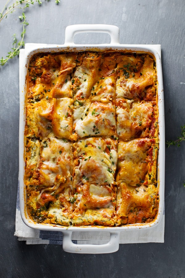 Fall Dinner Recipes : Skinny Spinach Lasagna + 4 other delicious recipes in this week's Fall meal plan | Rainbow Delicious
