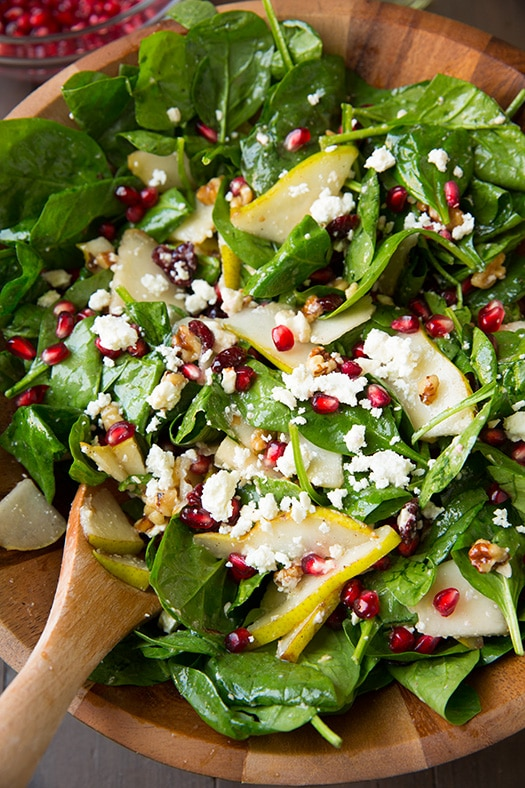 pear pomegranate and spinach salad + 4 other delicious recipes in this week's Fall meal plan | Rainbow Delicious