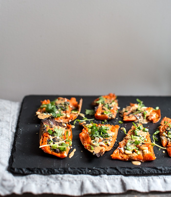 thai peanut sweet potato skins + 9 other delicious and unique game day snacks perfect for the Super Bowl | Rainbow Delicious