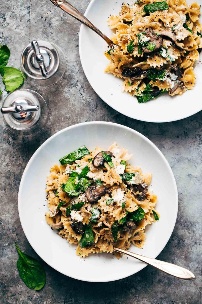 mushroom pasta with goat cheese + 4 other delicious recipes in this week's Winter meal plan | Rainbow Delicious