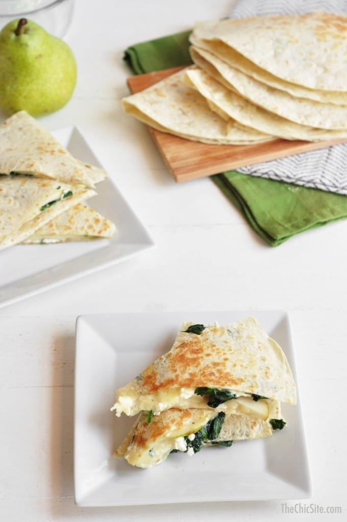Winter Eats Meal Plan Spinach Pear Feta Quesadillas