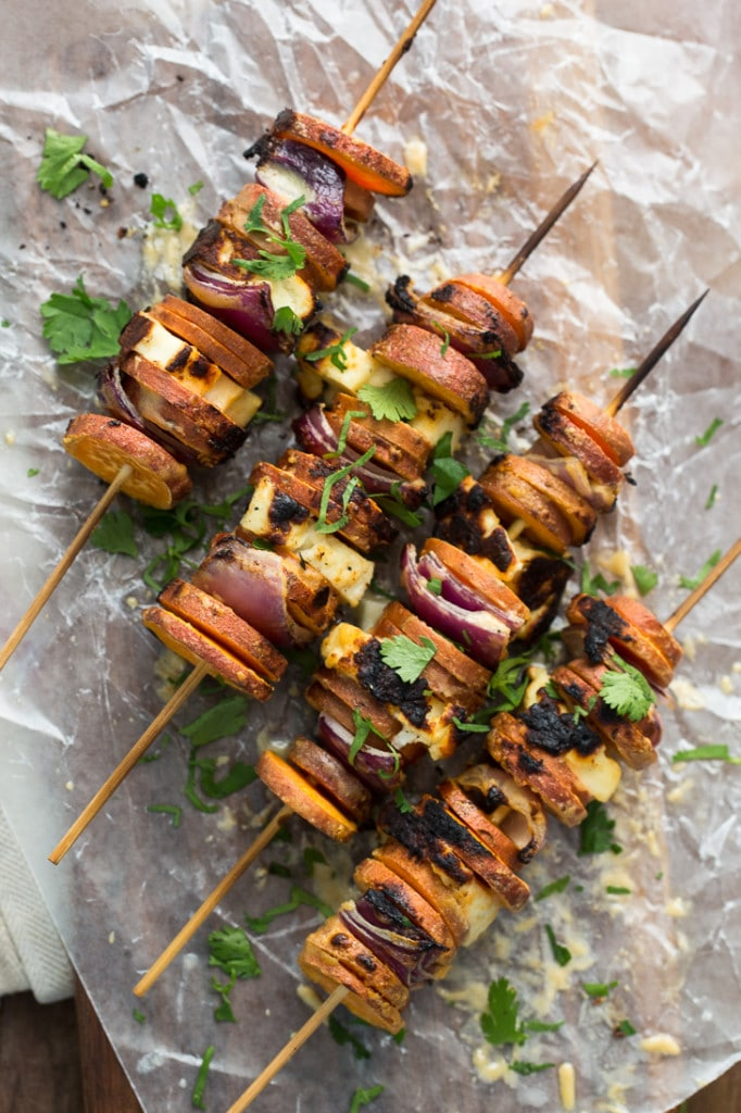 Easy Spring Dinner Ideas Meal Plan: Sweet Potato Halloumi Skewers