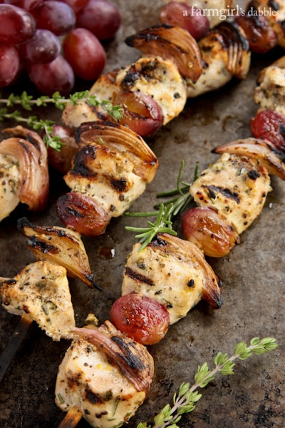 Healthy Easy Dinner Recipes: Grape Chicken Kebabs
