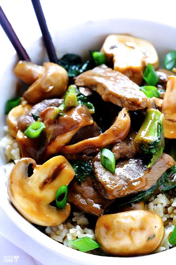 Ginger beef Mushroom Kale Stir Fry