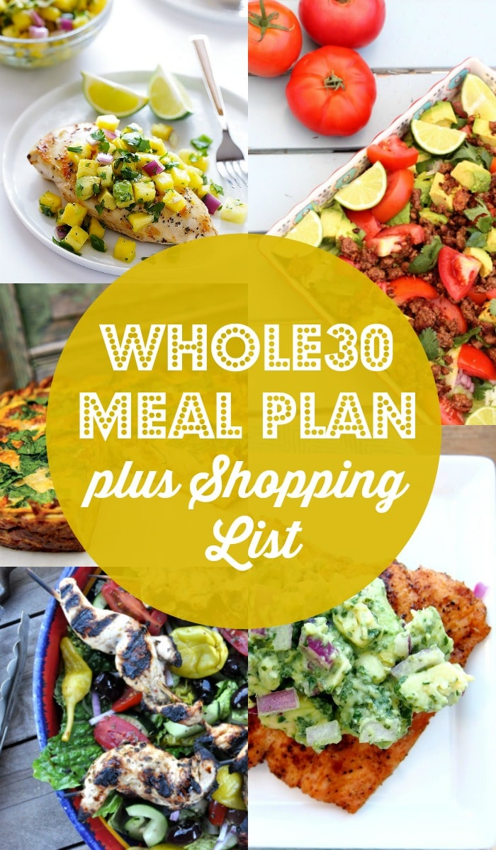 Whole30 Meal Plan plus Shopping List