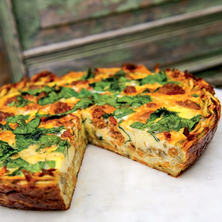 sweet potato quiche + 4 other delicious recipes in this week's whole30 and paleo compatible meal plan with free printable grocery shopping list