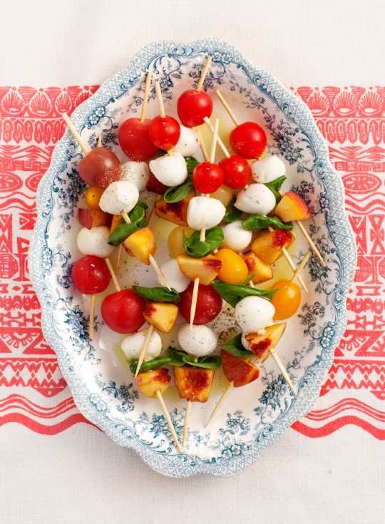 Healthy Spring Recipes Meal Plan: tomato basil peach skewers: