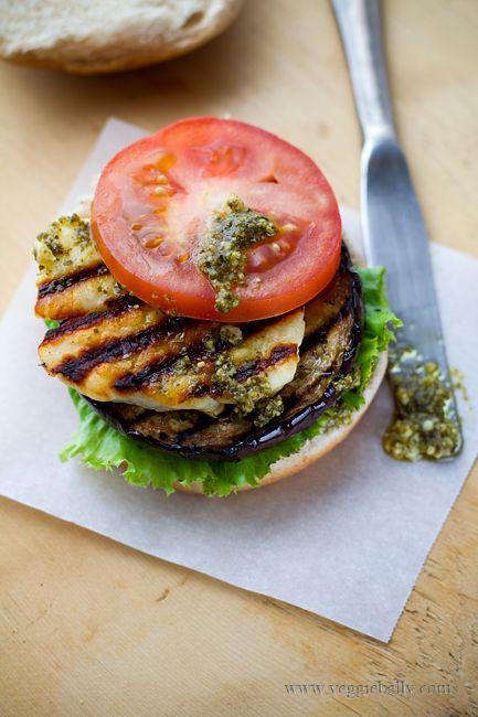 grilled eggplant halloumi burger