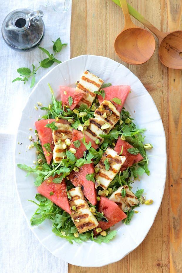 watermelon halloumi arugula salad