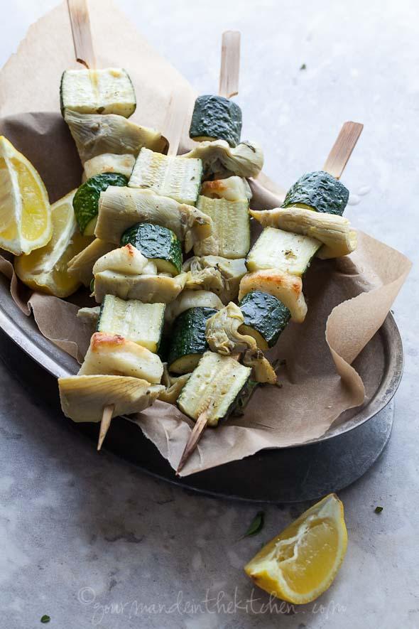 zucchini halloumi artichoke vegetable skewer recipe