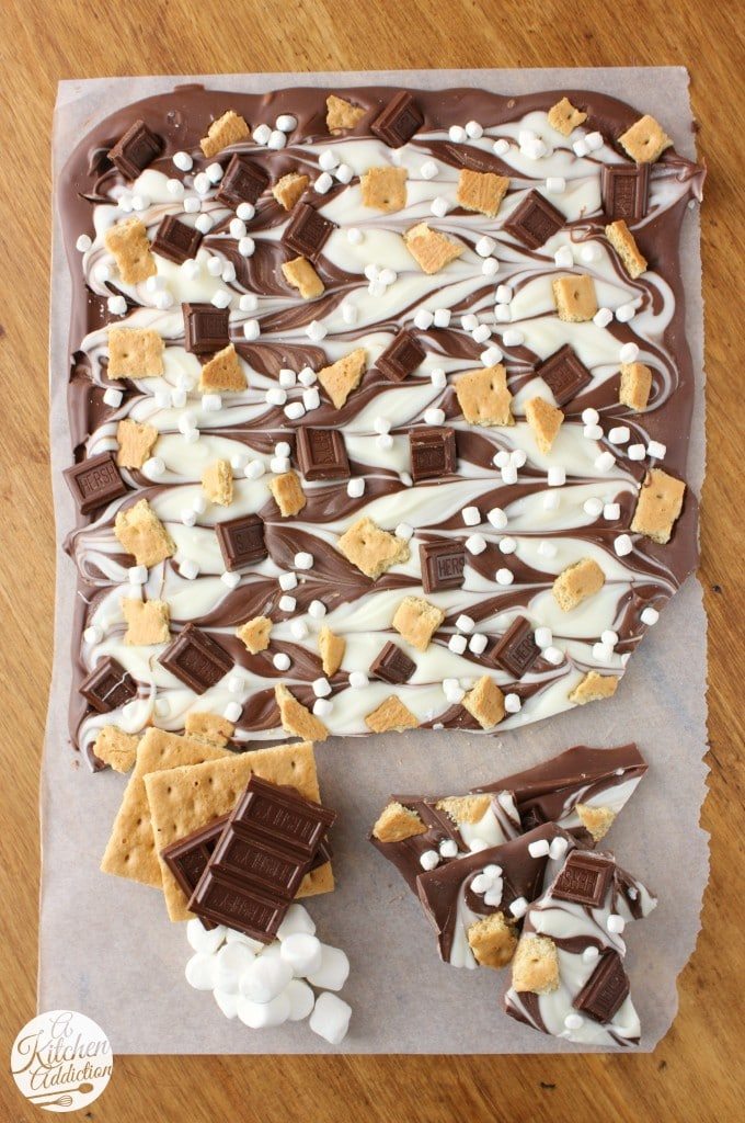 s'mores recipes : triple chocolate smores bark