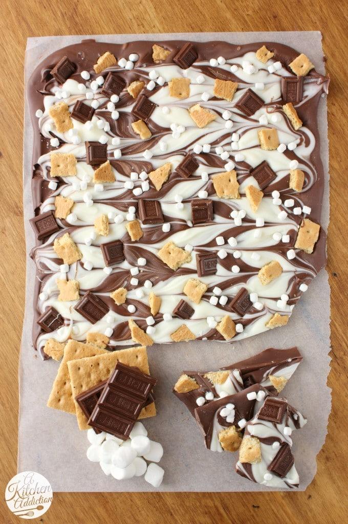 triple chocolate smores bark