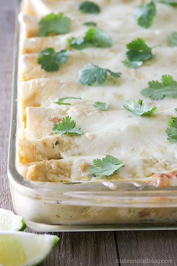 chicken black bean and zucchini enchiladas with jalapeno green chile cream sauce + 4 other healthy and delicious family dinner recipe ideas in this week's summer meal plan | Rainbow Delicious