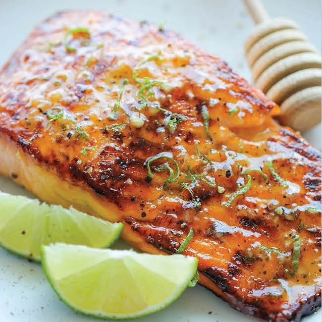 honey lime salmon + 4 other healthy and delicious family dinner recipe ideas in this week's summer meal plan | Rainbow Delicious