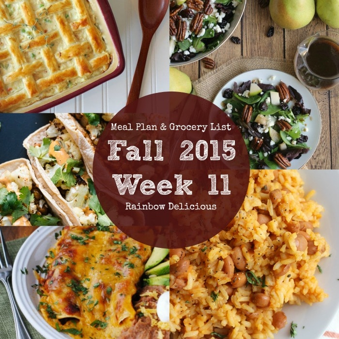Fall 2015 Week 1 Meal Plan & Grocery List Rainbow Delicious
