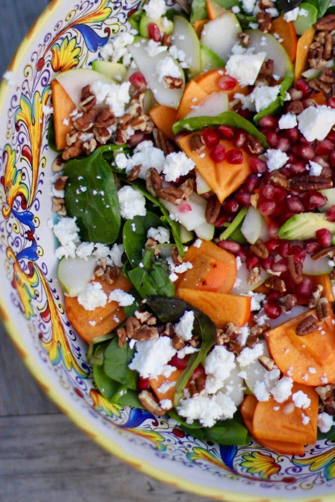 Persimmon, Pear, Pomegranate and Avocado Salad with Walnuts and Feta I Rainbow Delicious