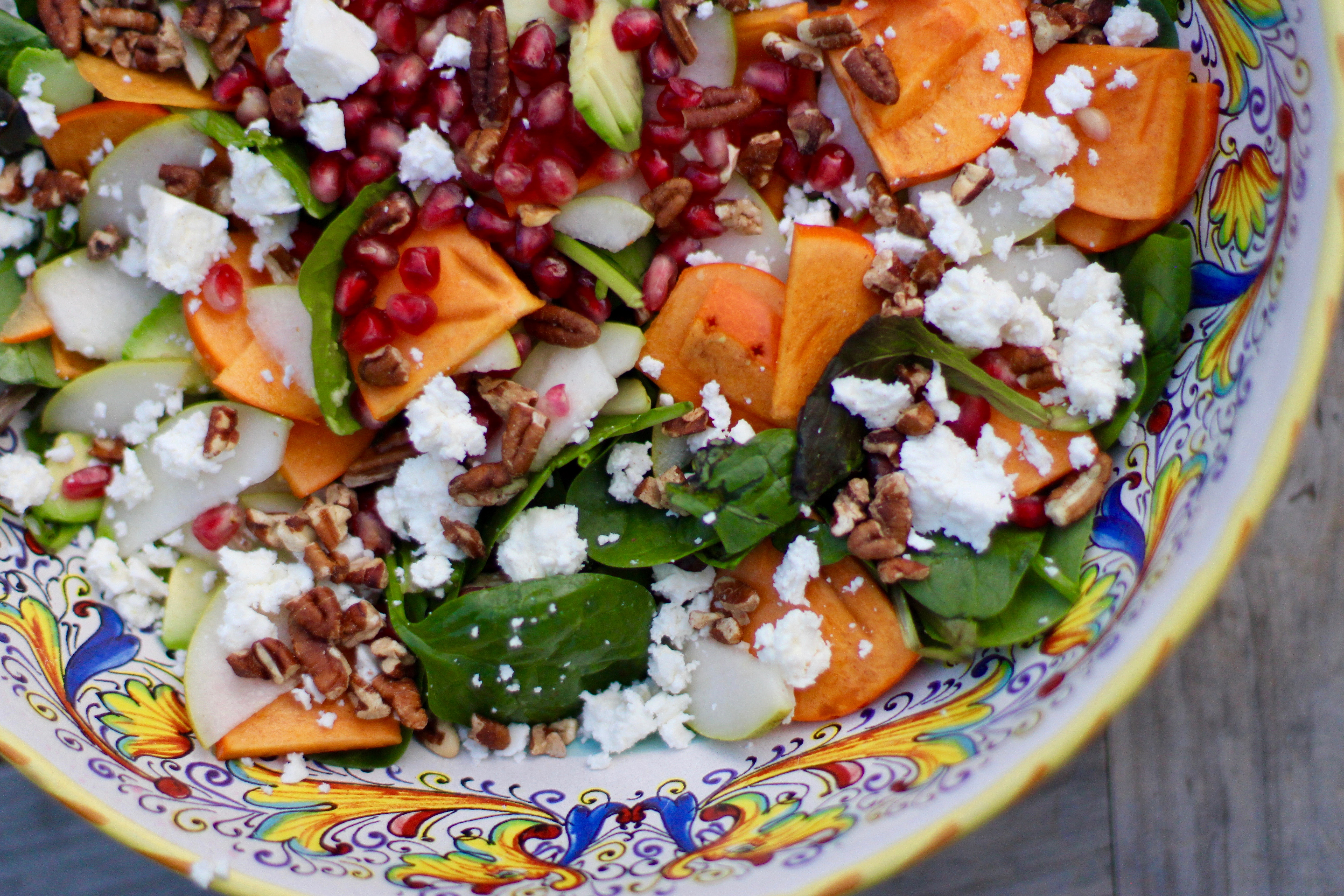 Persimmon, Pear and Pomegranate Salad