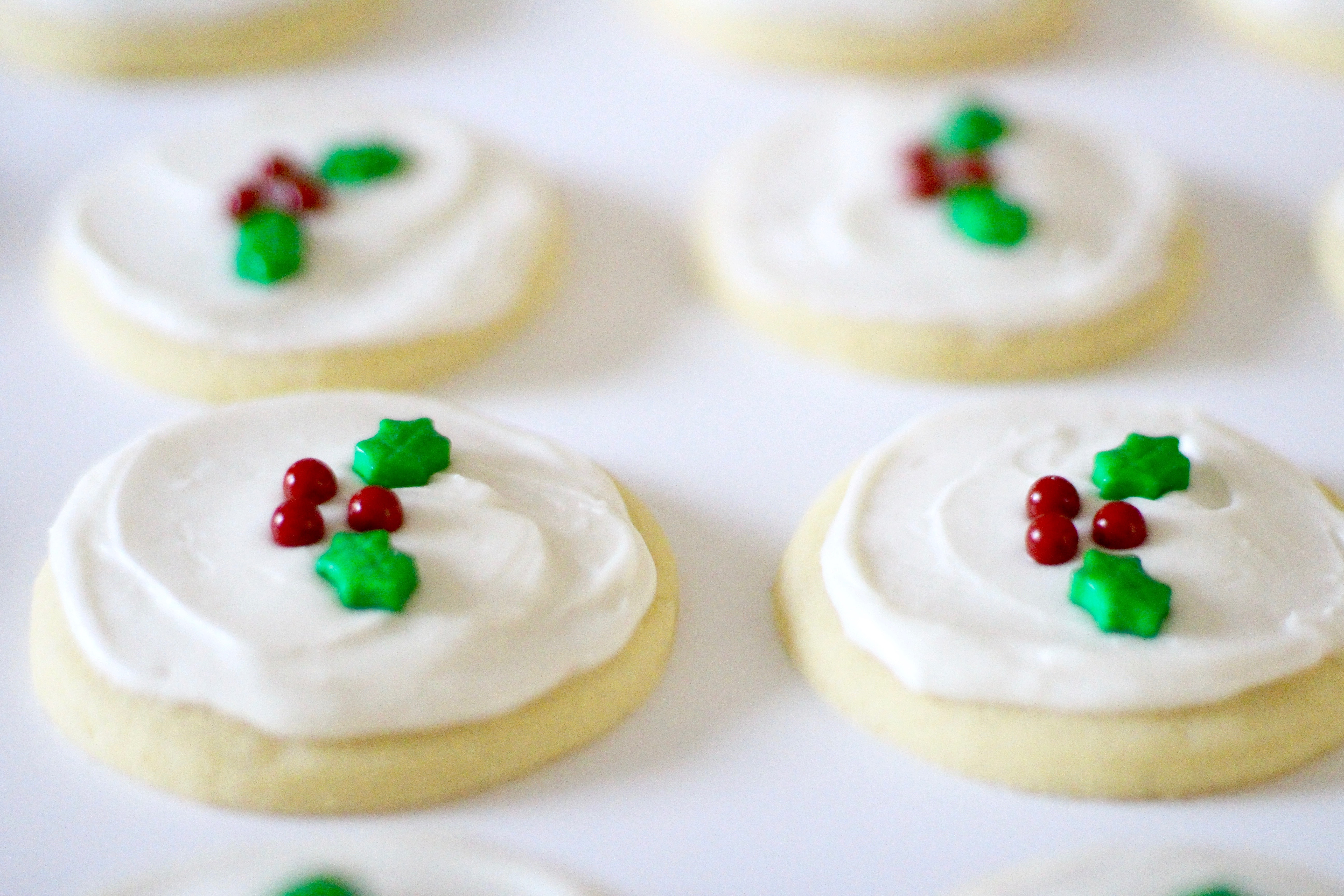 Holly Holiday Sugar Cookies - Rainbow Delicious