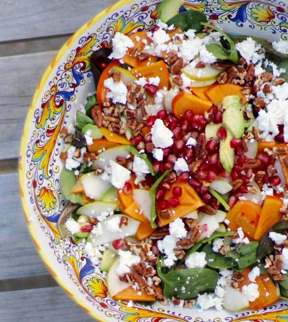 persimmon pear pommegranate avocado salad