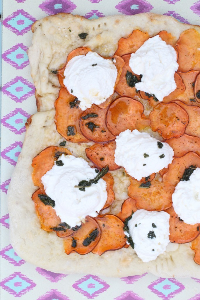sweet potato brown butter ricotta pizza