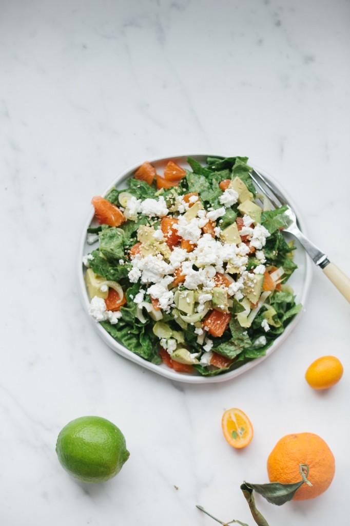 Salad with Cara Cara Oranges, Avocado and Feta