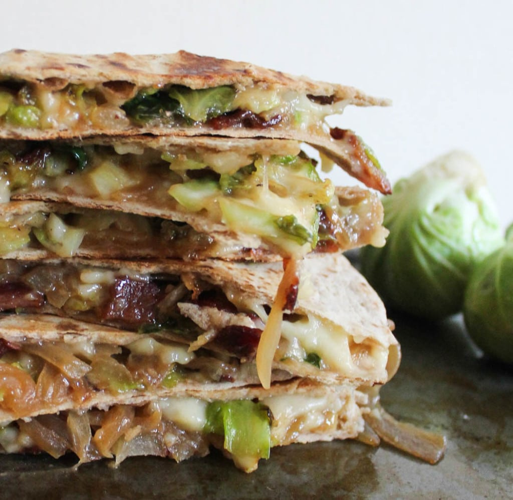 brie quesadillas with brussels sprouts, bacon and beer glazed onions
