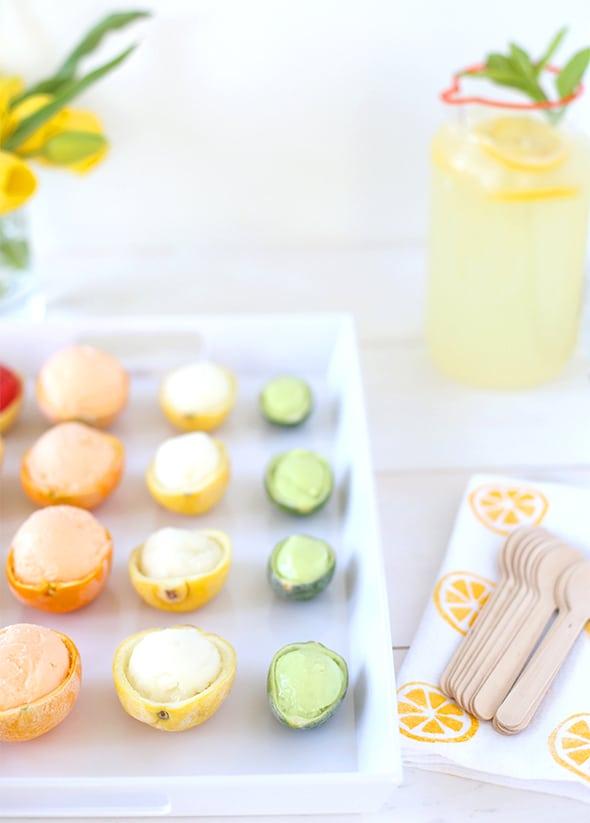 citrus sorbet cups | 20 Amazing Citrus Recipes on Rainbow Delicious