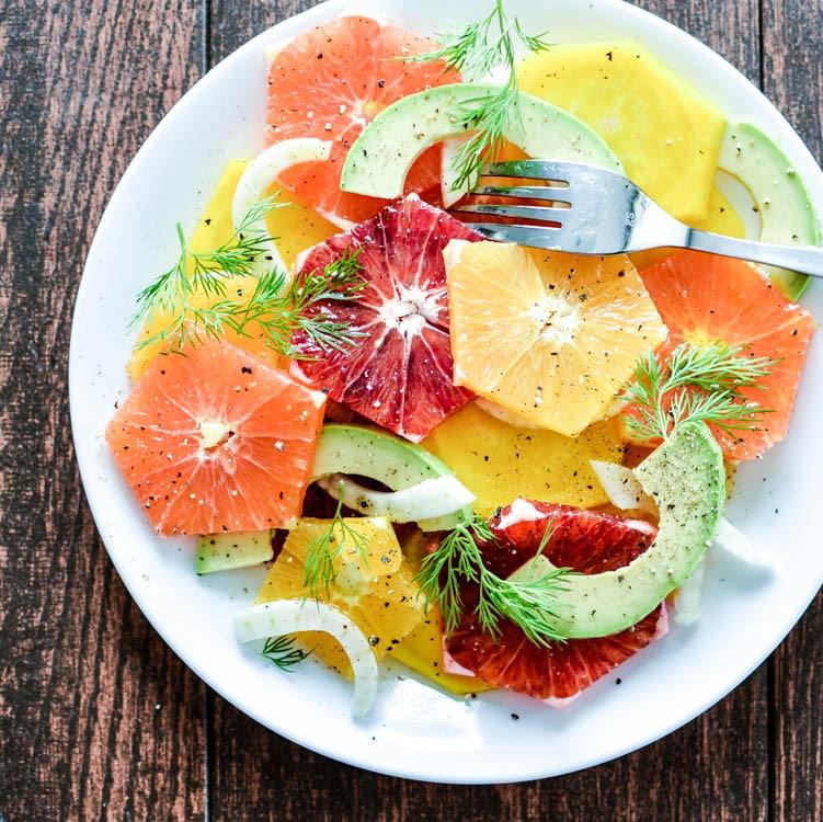 golden beet citrus salad with spiced honey viniagrette | 20 Amazing Citrus Recipes on Rainbow Delicious