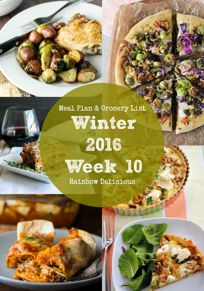 Meal Plan & Grocery List Winter 2016 Week 10 Rainbow Delicious